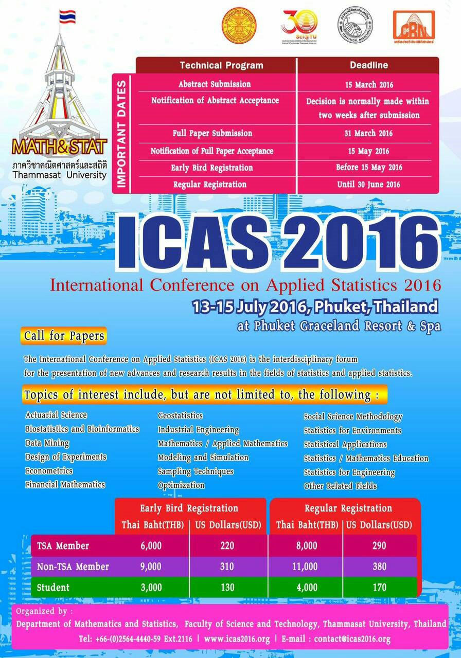 International Conference on Applied Statistics 2016 (ICAS 2016)
